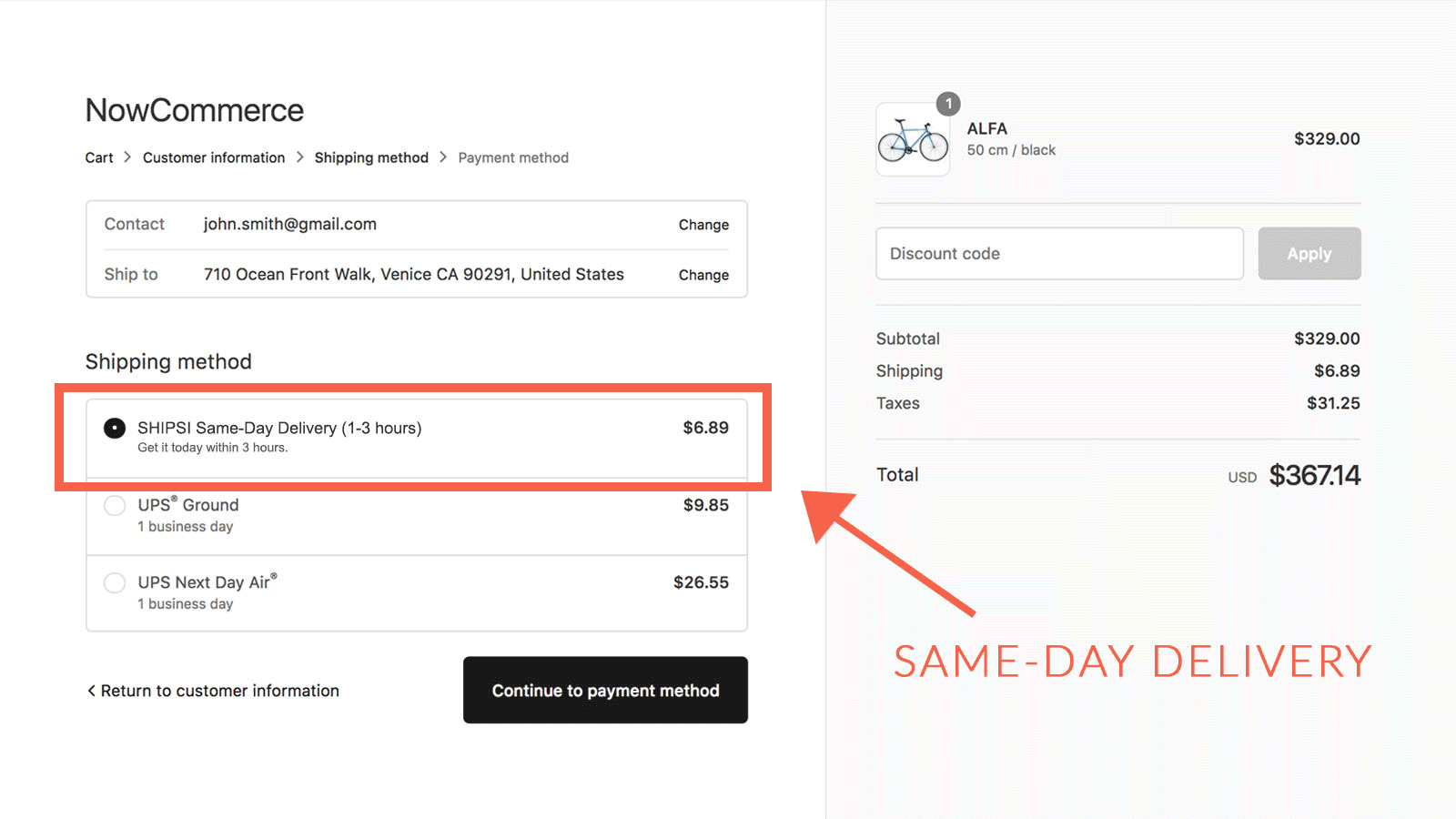 SHIPSI Same-Day Delivery at checkout