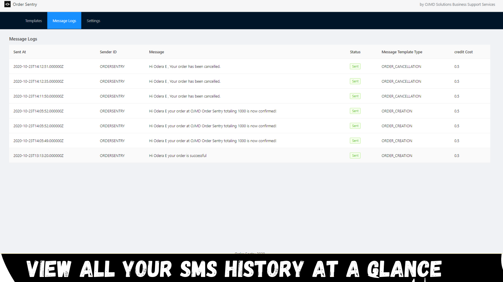 SMS history