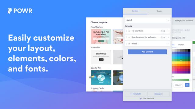 Customize your layout, fonts and elements.