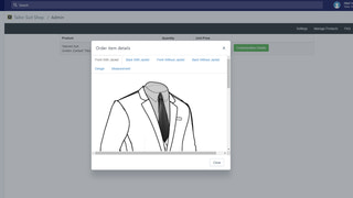 Tailor Suit Shop customized/tailored order details in backend