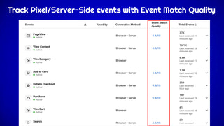 facebook event manager you can see pixel and server side event