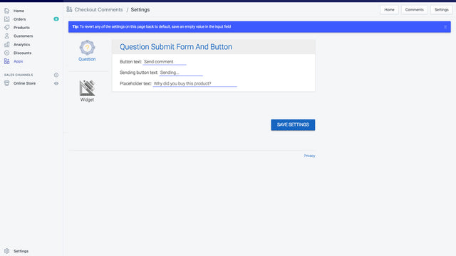 Customize Checkout Question and Comments via App Settings