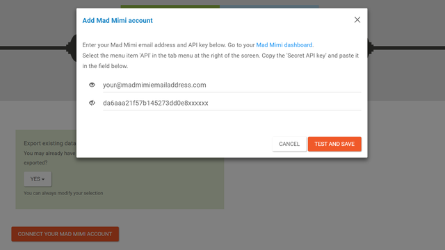 Add your Mad Mimi email addres and paste your API key
