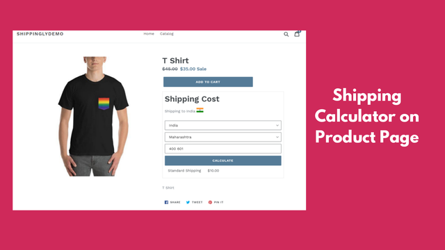 shipping calculator on product page