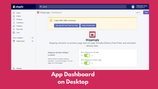 Shippingly App Dashboard