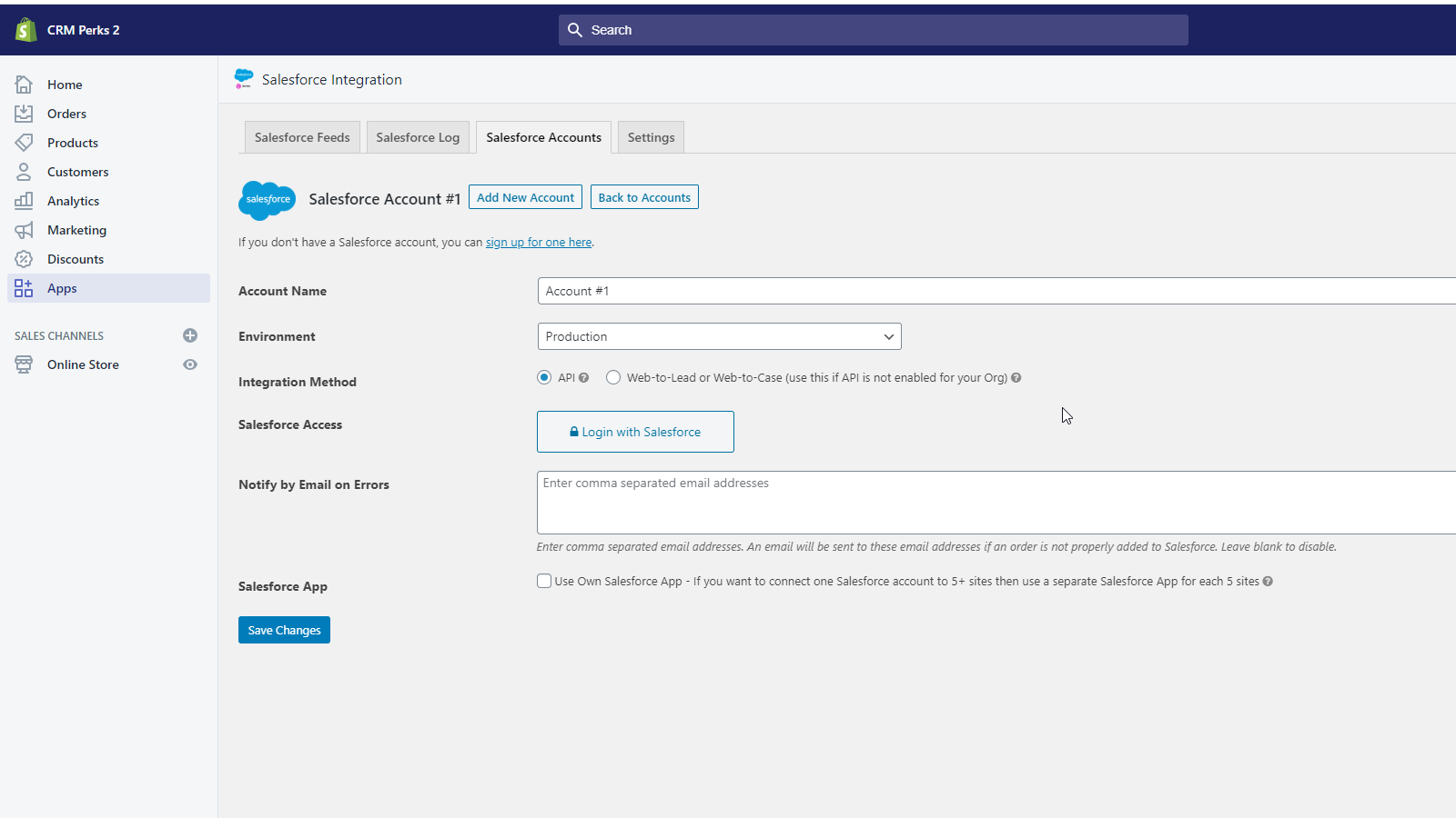 Connect Salesforce Account