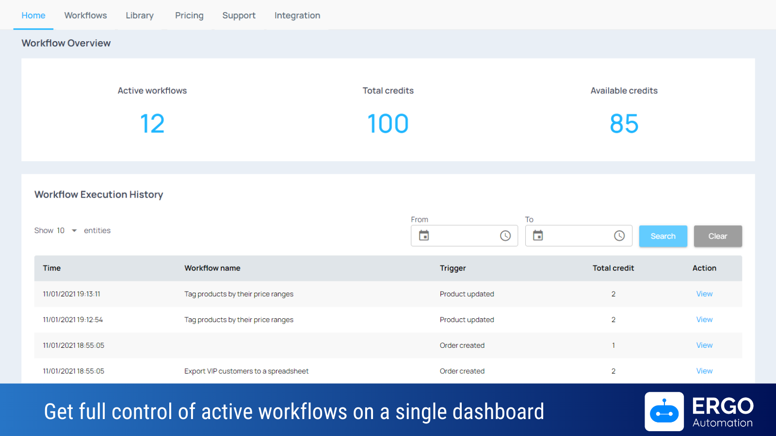 Workflow History
