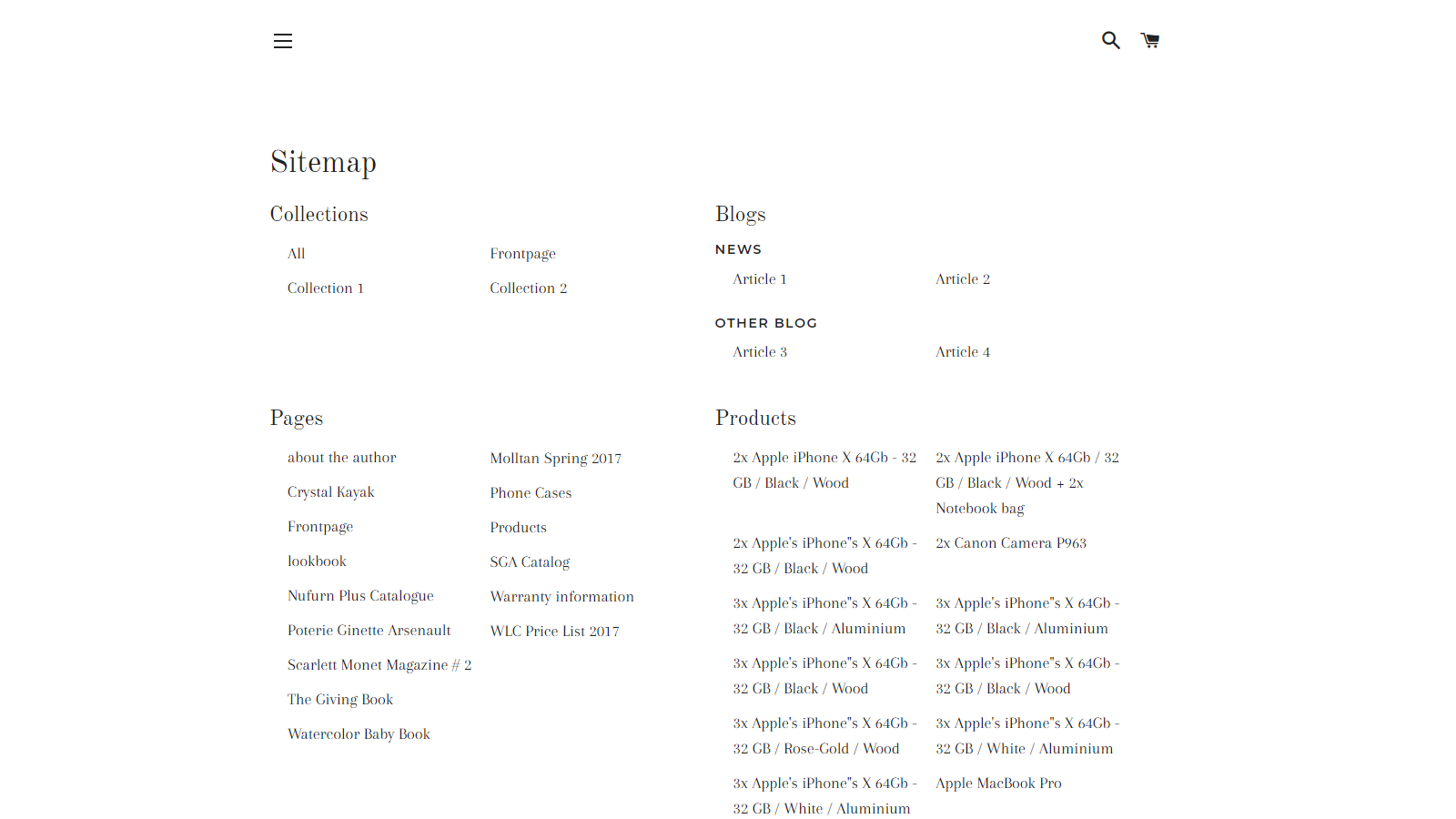 HTML sitemap view