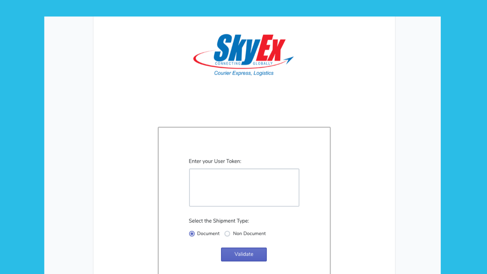 Enter your unique User Token received from SkyEx Courier.
