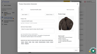 Example of AI Generated Product Description Text