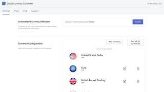 Currency converter admin settings page