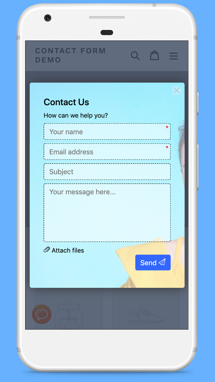 Contact form on mobile devices