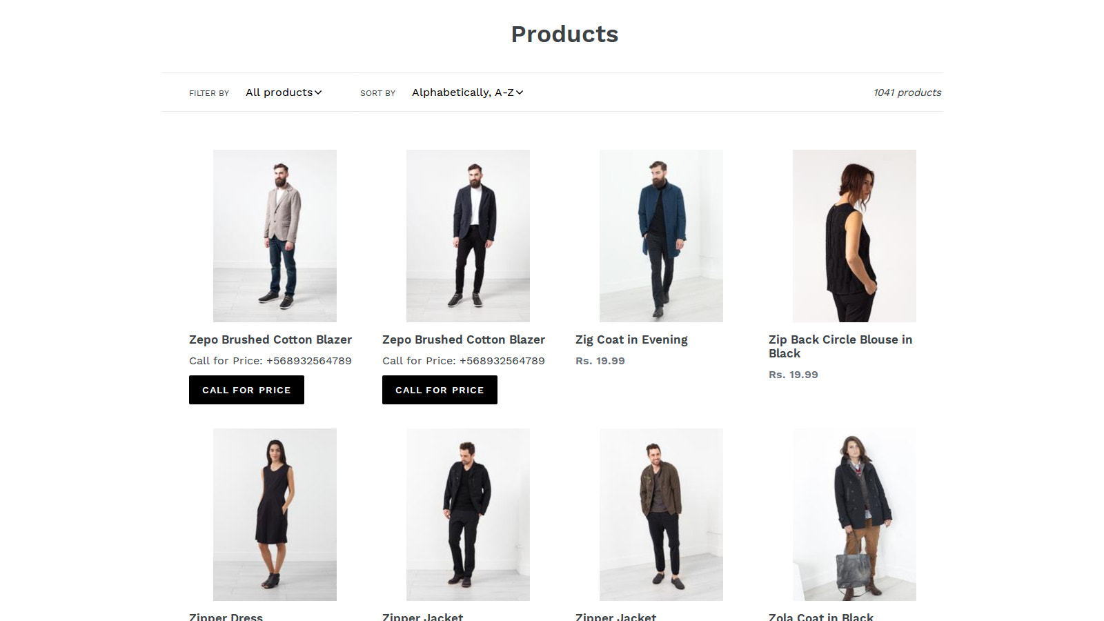 Call for Price in Collection Page