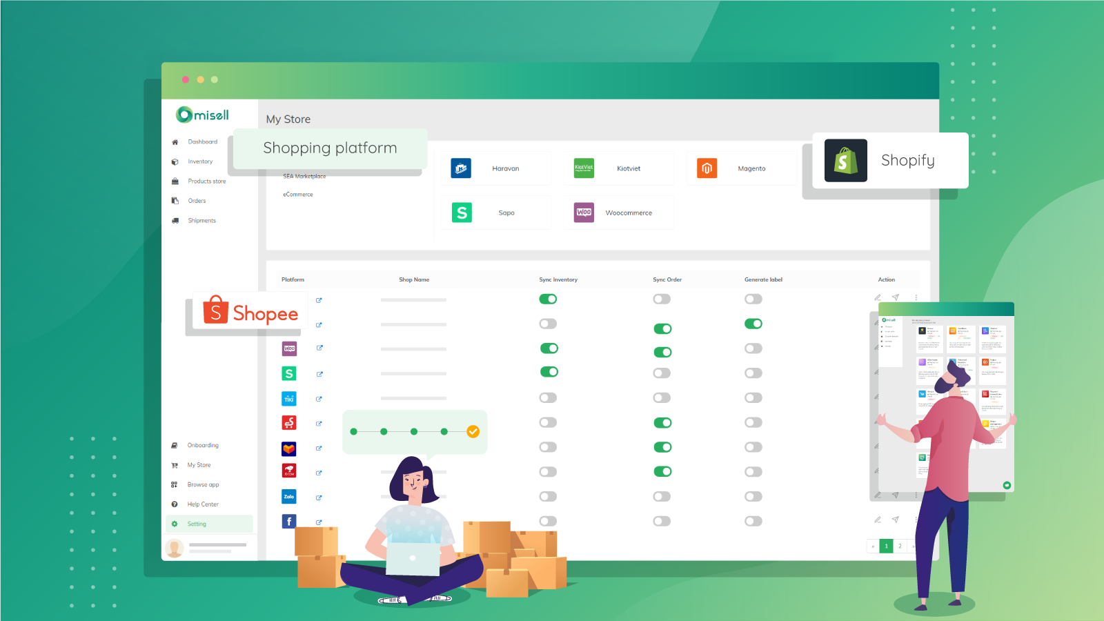 Omisell connect to multiple sales channels