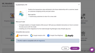Activate CLTV, shopping stage or other ML models