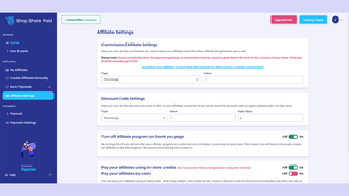 Commission and discount code settings page