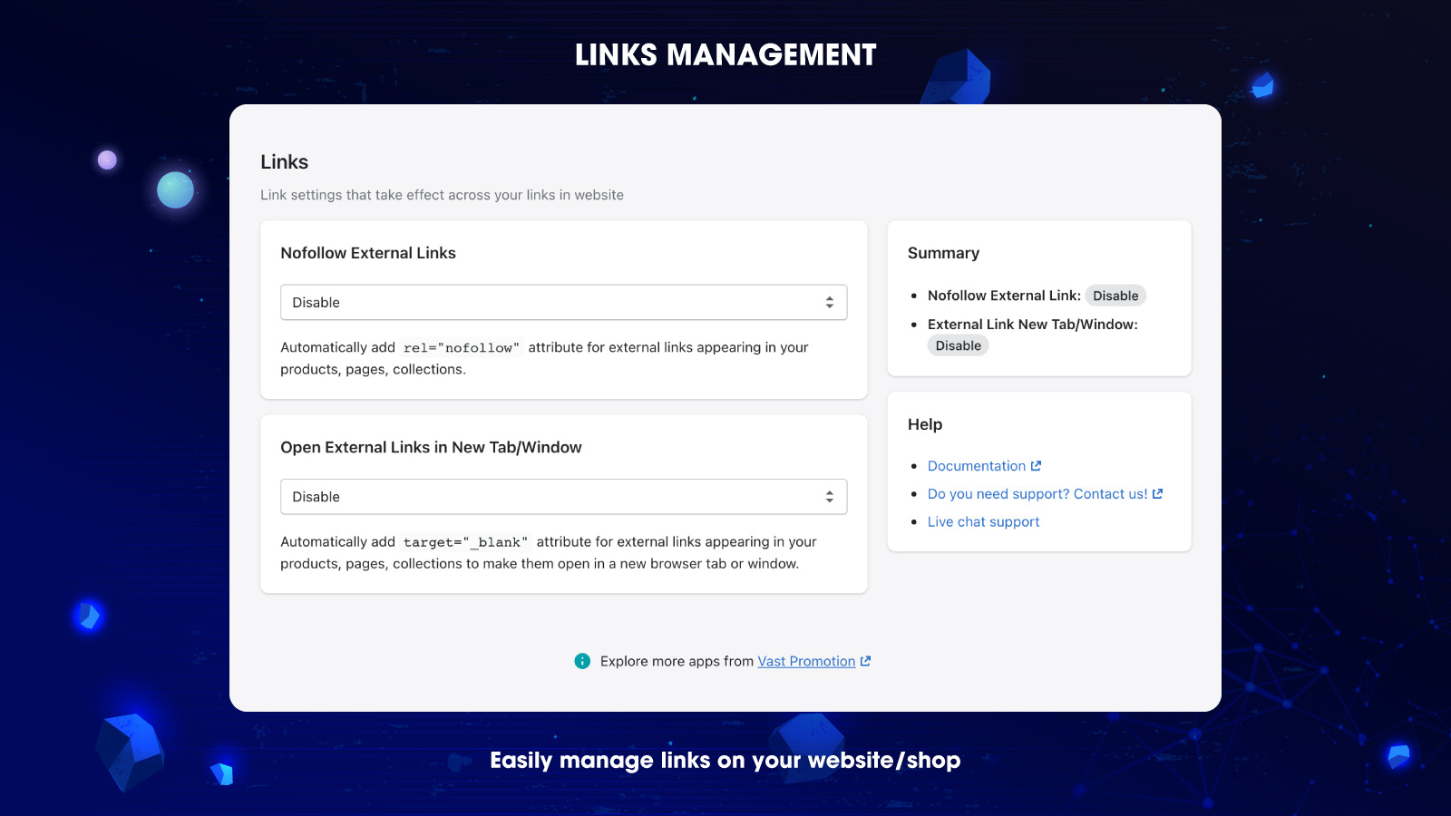 Link manager controls all your website's links