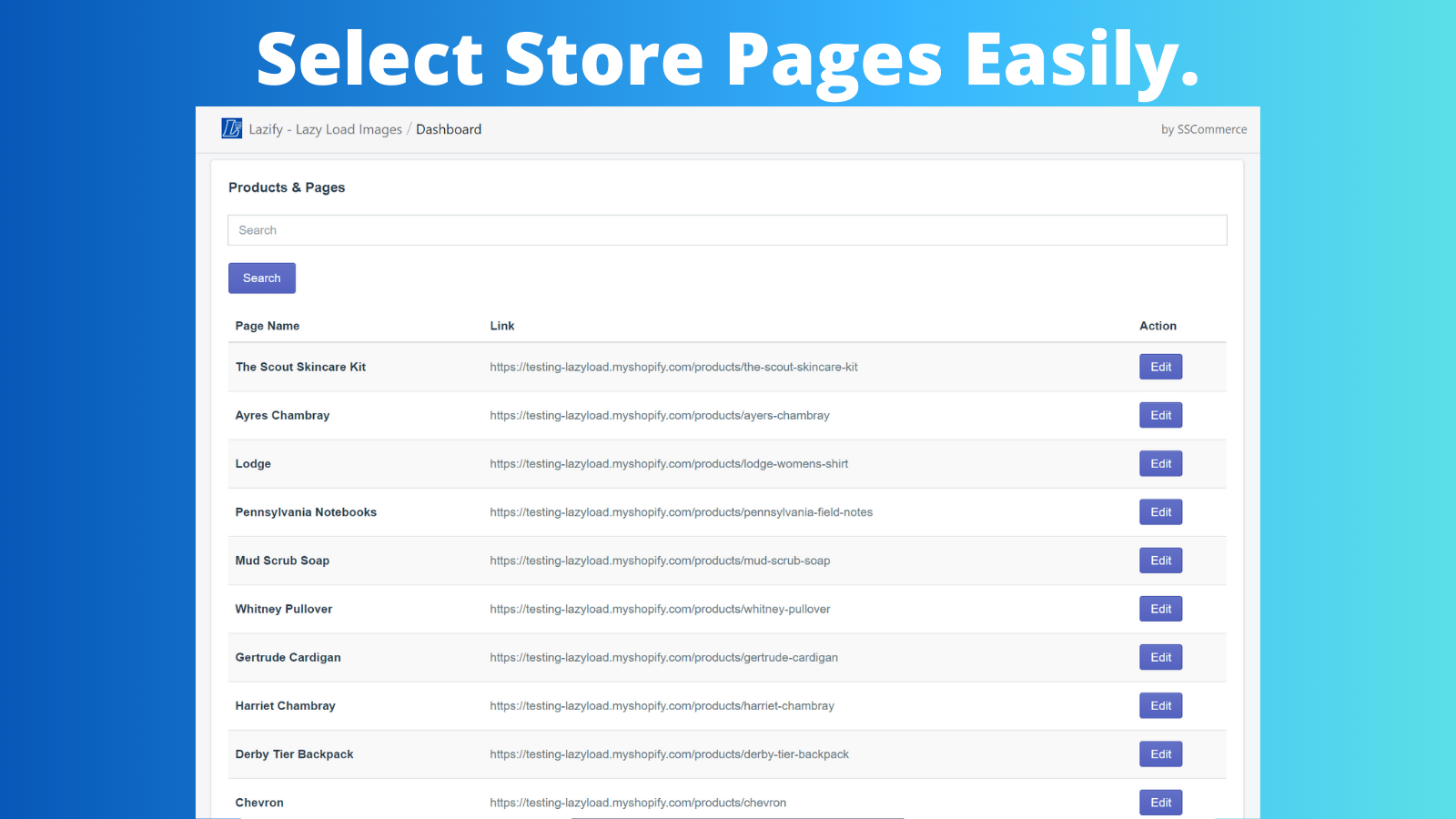 Select Store Pages Easily.