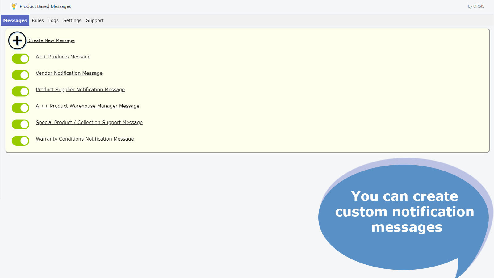 You can create custom messages for customers or suppliers.