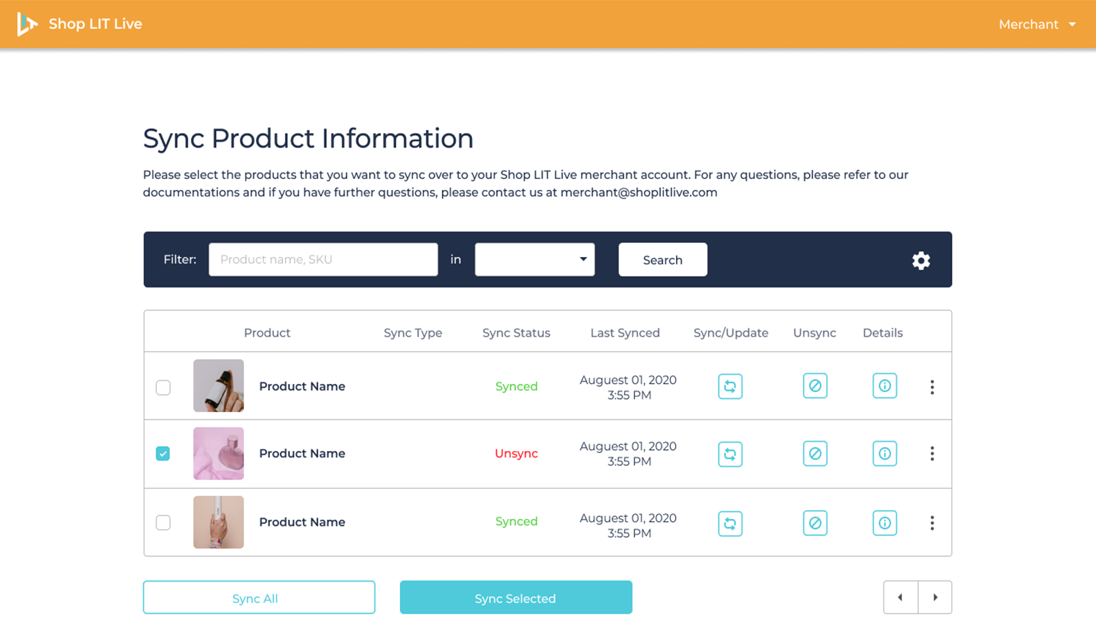 Syncing Products from Shopify to Shop Lit Live