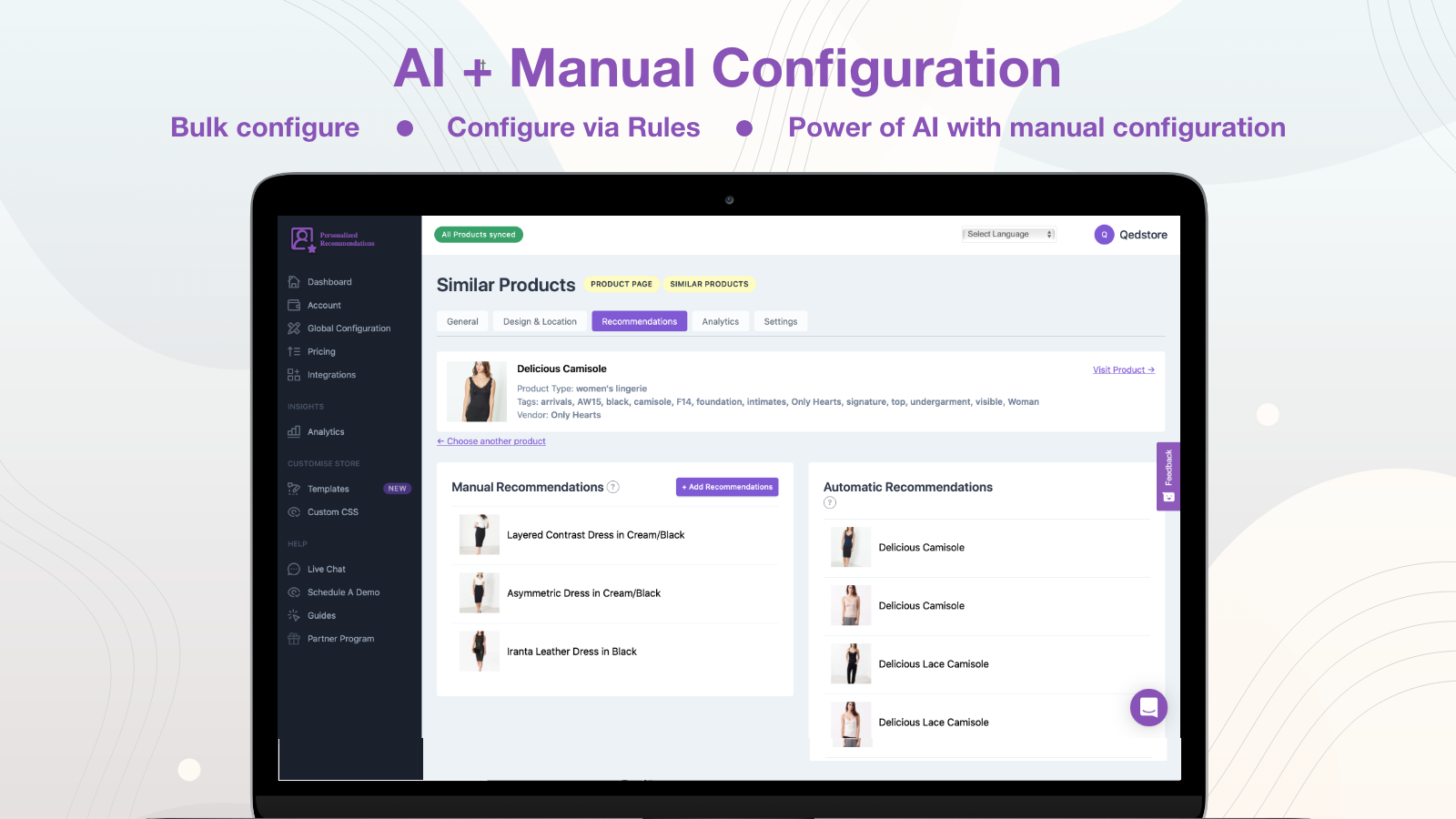Manual + AI + Recommendation Rules Personalized Recommendations