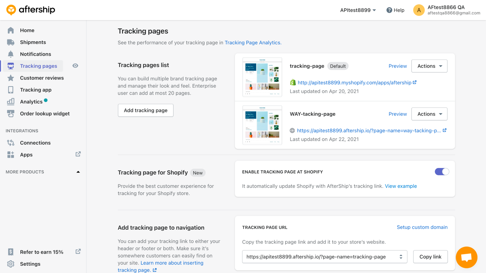 Branded tracking page, product recommendations, & social links