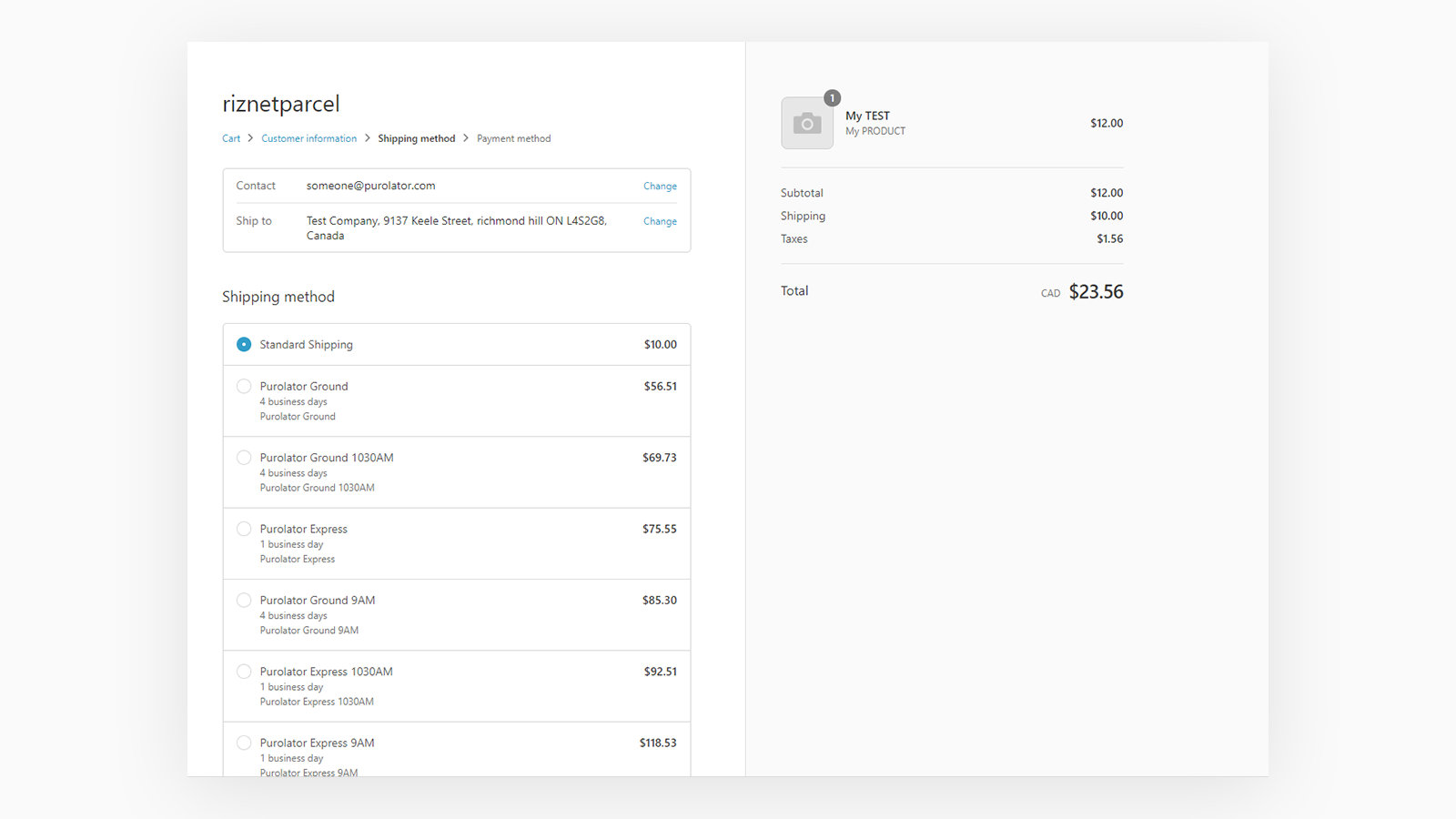 Real-time Purolator Rates at Shopify Checkout