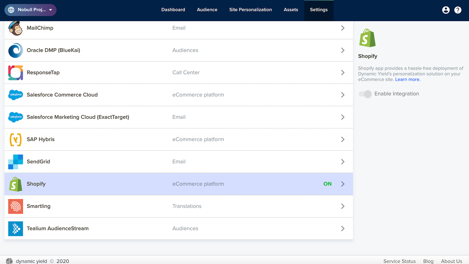 Integration Screen for Activating the Shopify App
