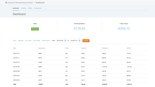Rontar dashboard page