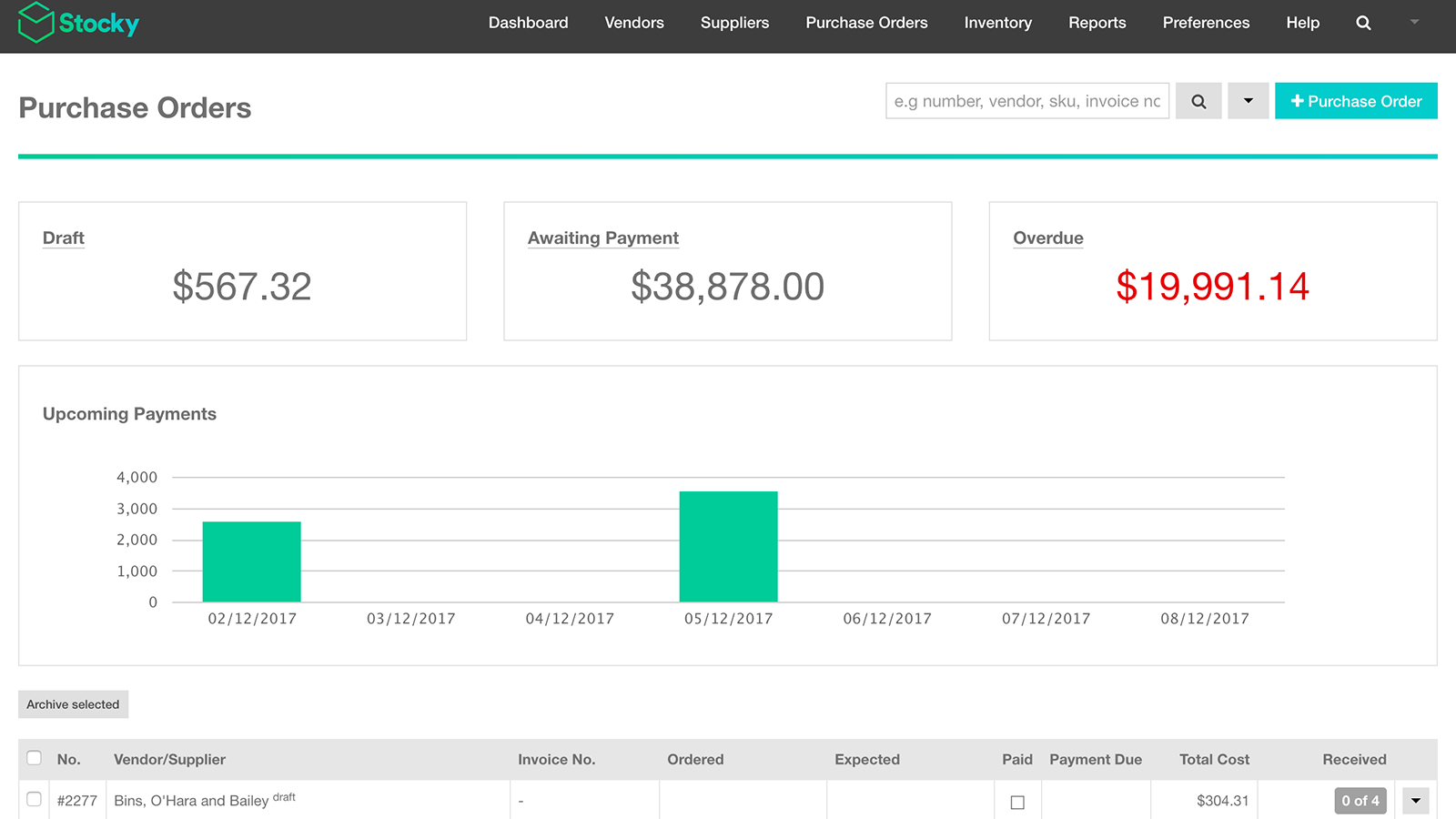 See the status of your incoming purchase orders