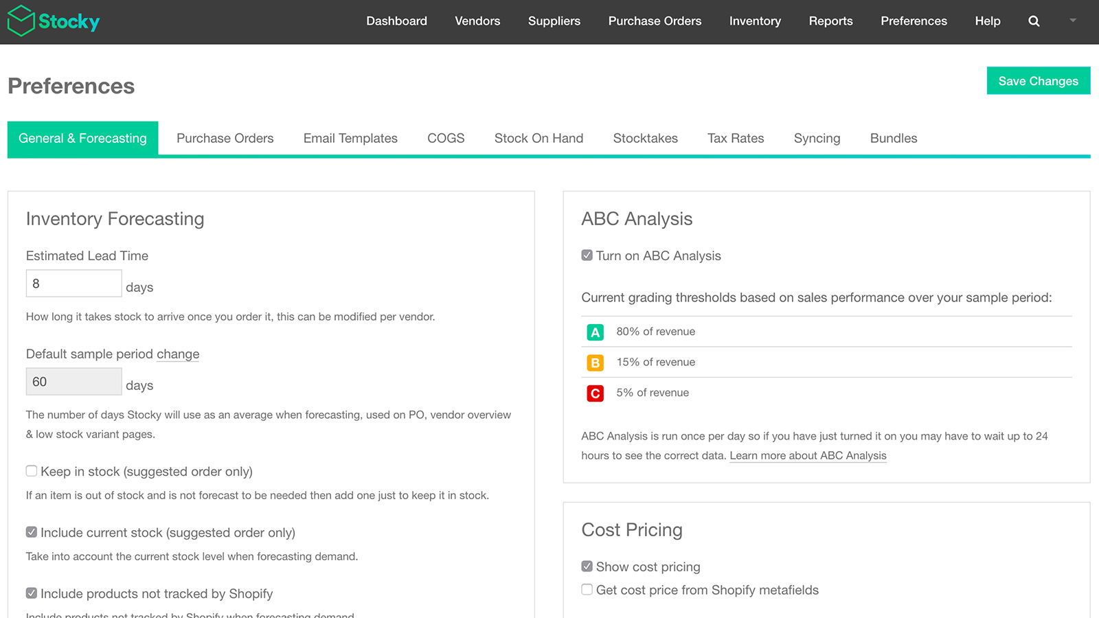 Customize your forecasting settings to fit your store's needs