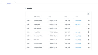 Order page
