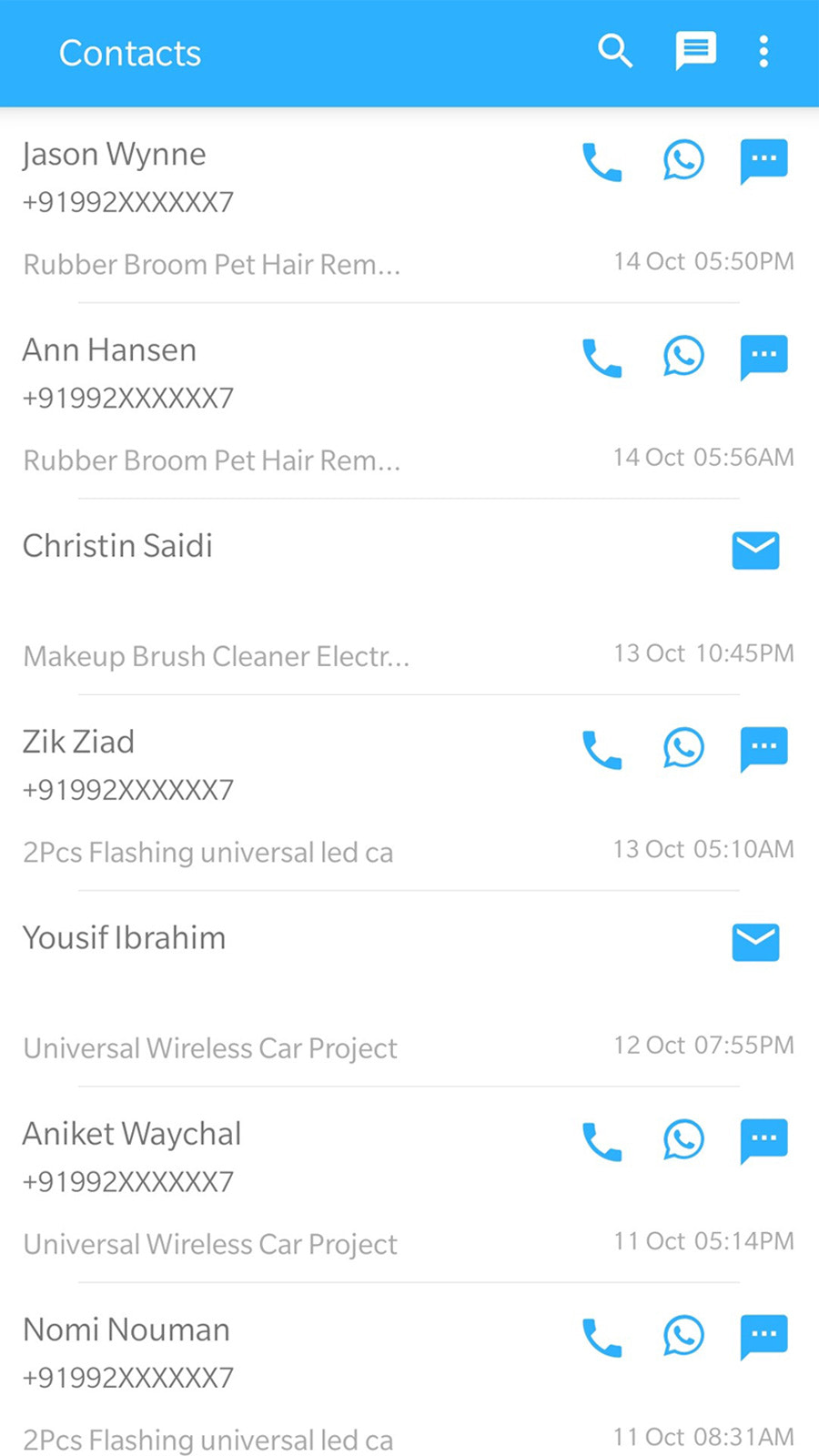 Android app for manually contacting Abandoned Cart & Customers