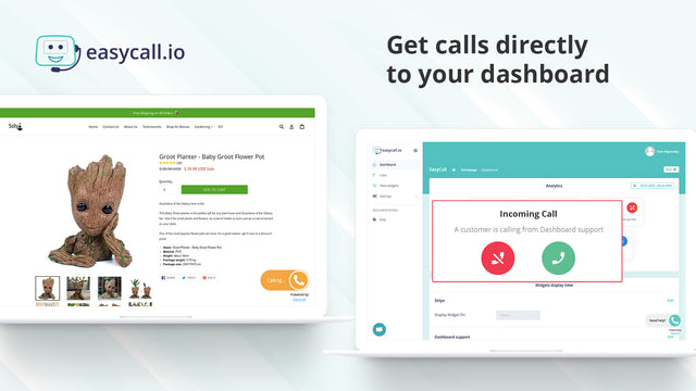 Click to call widget from your Shopify store during a call