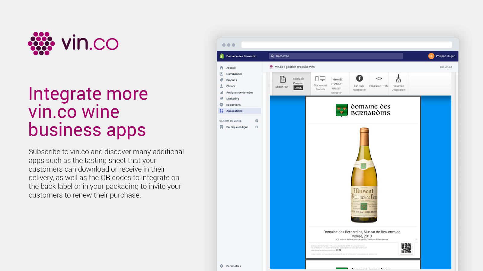 Integrate more vin.co business apps