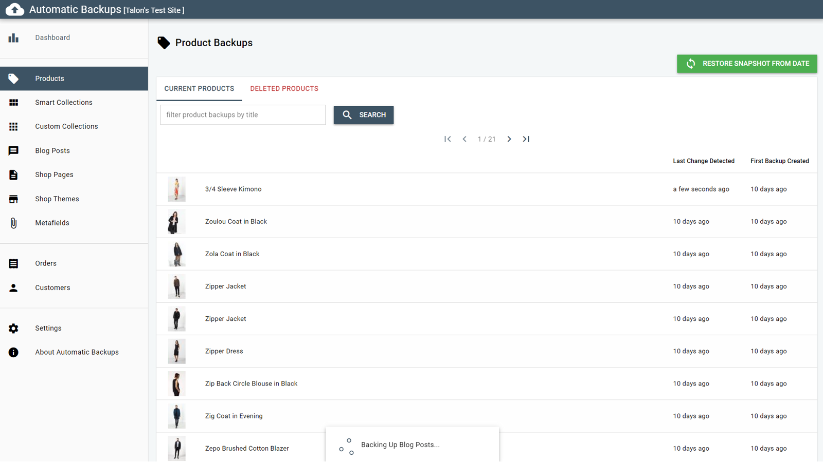 List restorable and deleted records.