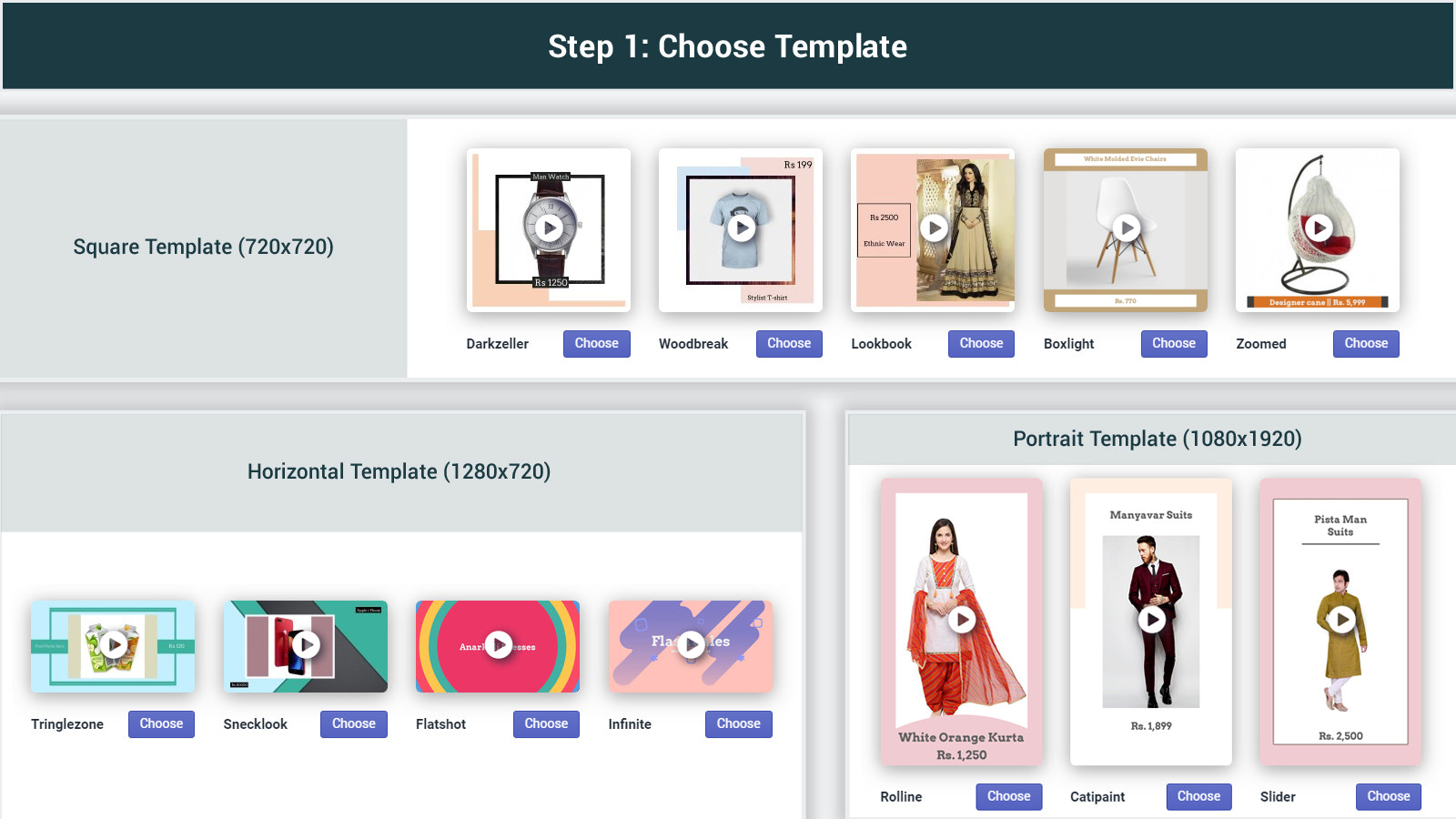 choose template from pre built video templates