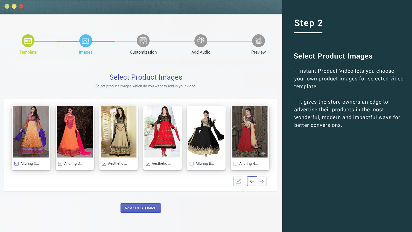 Choose product and images to make video