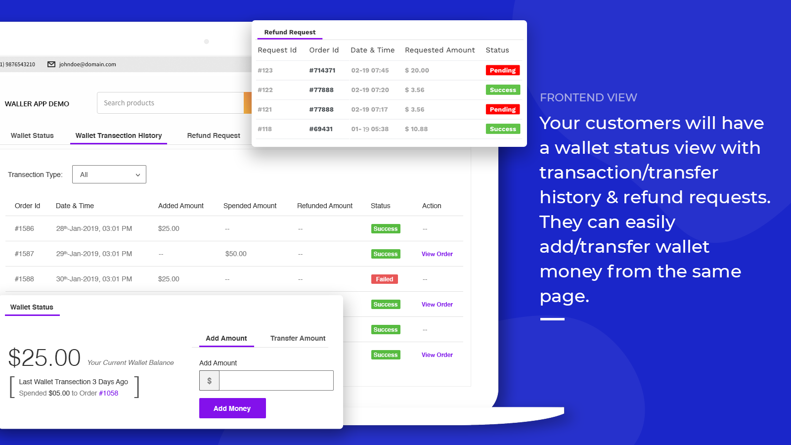 wallet app - customer account on shopify store