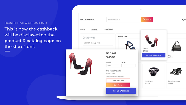 wallet app - product  page