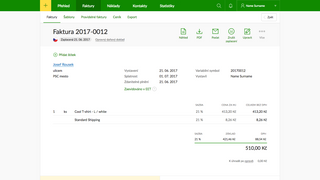 Example invoice in Fakturoid.cz service. You can see that the in