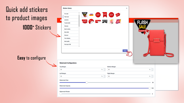 Quickly add stickers to product images