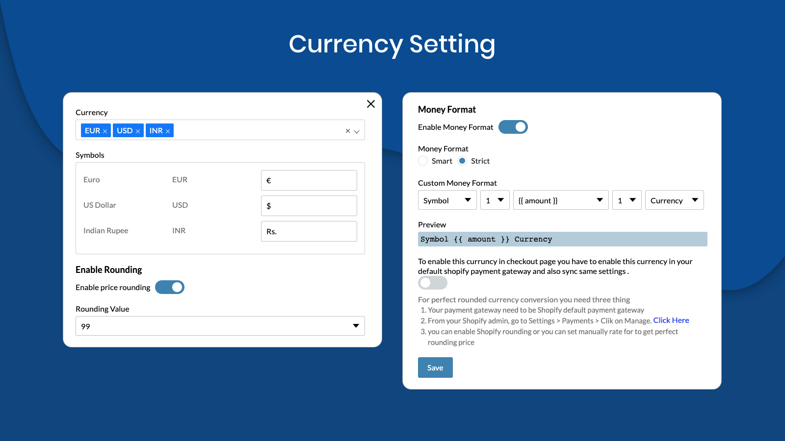 Currency Setting
