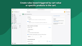Create rules based on cart value or products in cart.