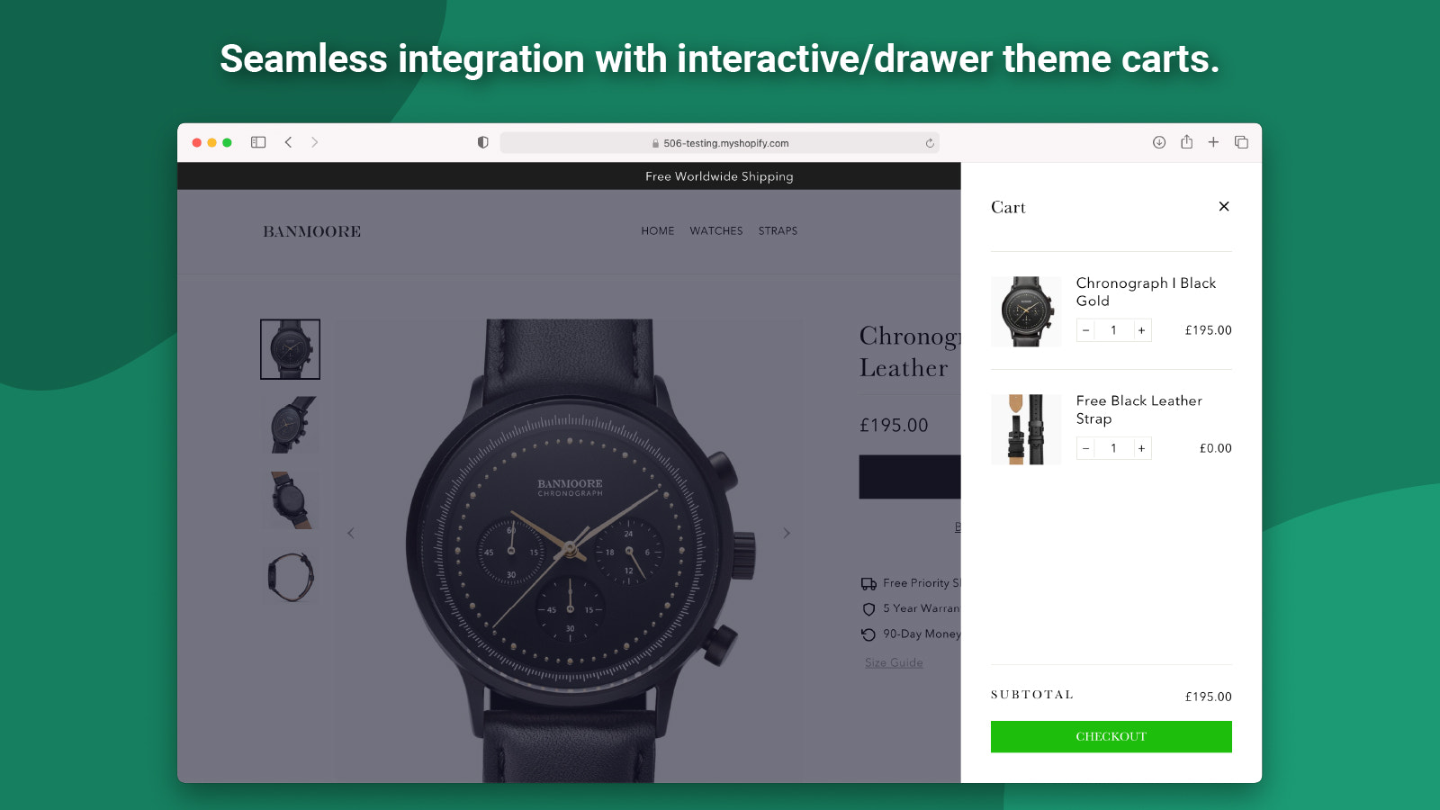 Seamless integration with interactive/drawer carts.