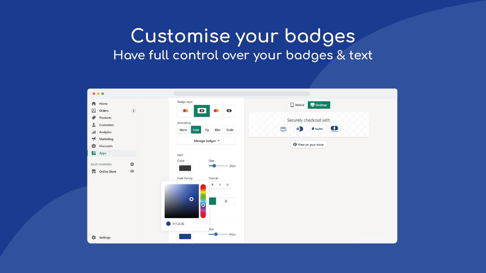 have full control over your badges & text