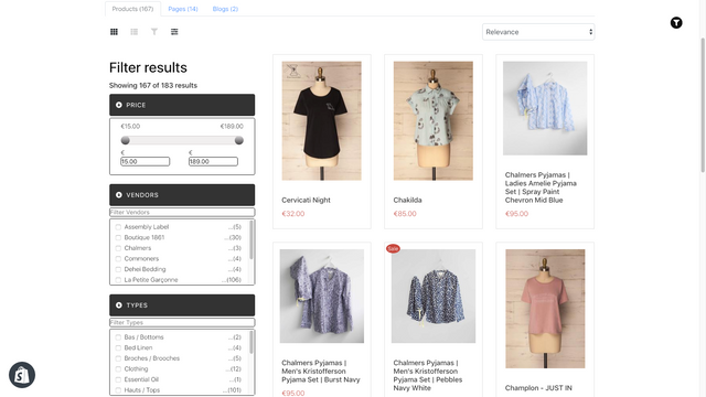 Use search filter to narrow down product search
