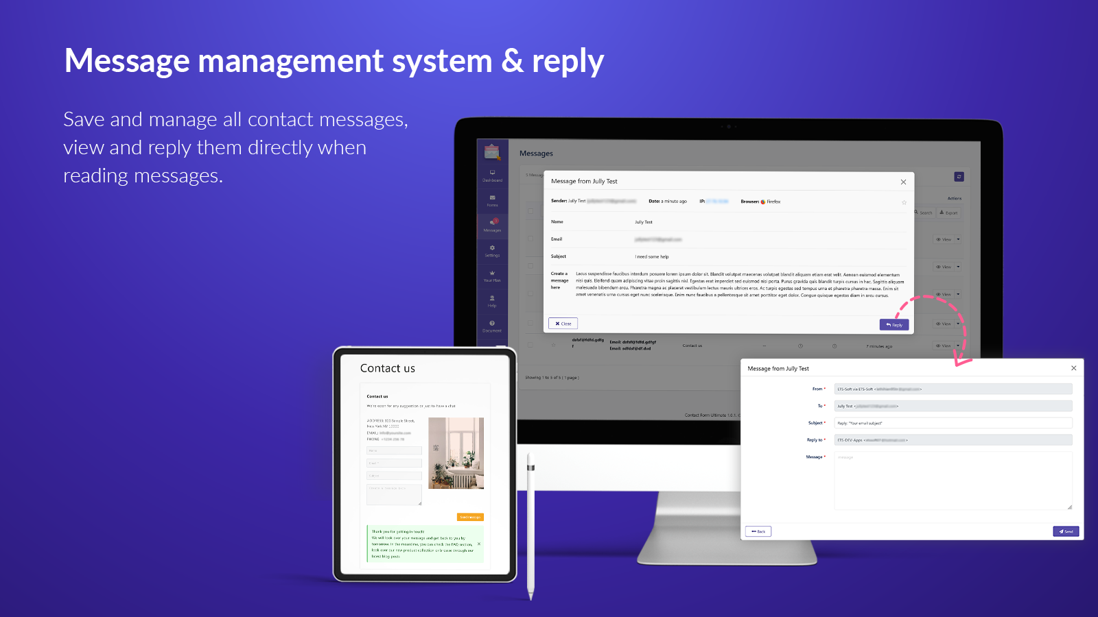 Message management system & reply