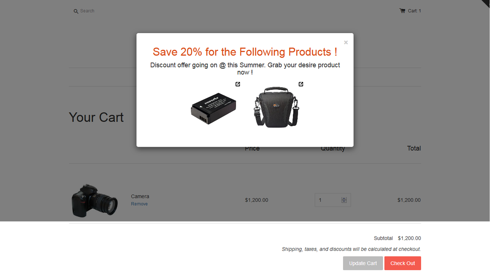 Show upsell offer popup in the cart