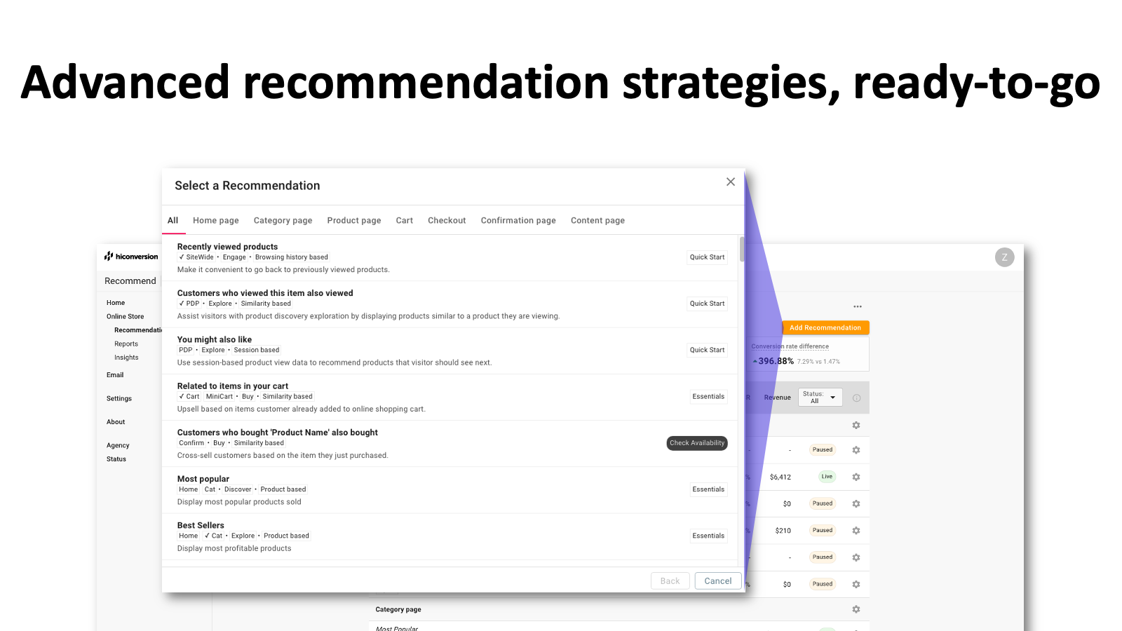 Ready-to-go product recommendation templates